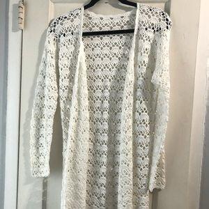 Vintage crochet duster cardigan M